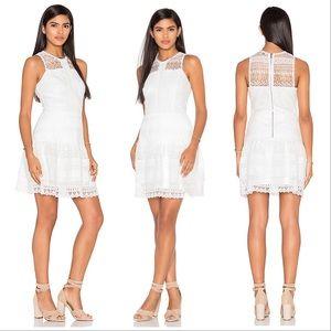 Parker Nerissa Tiered White Lace Drop Waist Dress